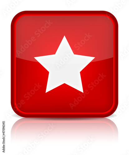 Red glossy web button with star sign.
