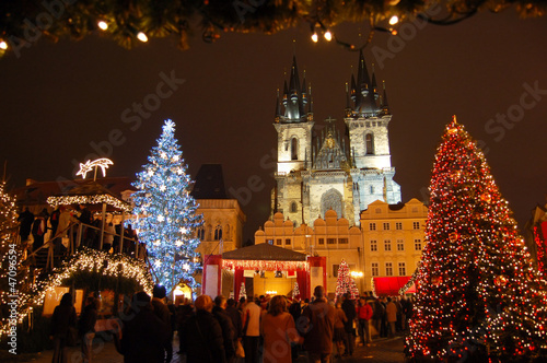 Staande foto Praag Christmas in Old-town square (Staromestske namesti), Prague