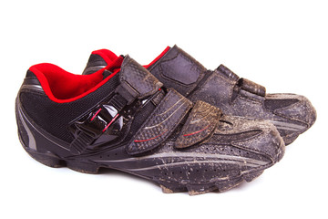 Dirty bike shoes isolated