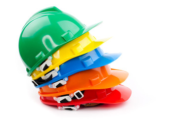 colorful builder safety hardhats