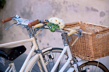 White Bicycles with Basket