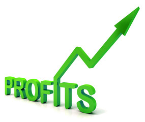 Green Profit Word Shows Income Earned