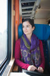 Portrait of a young woman traveling by train