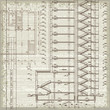 Grunge architectural background with plan and section. Eps10