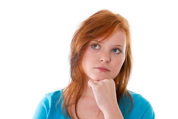 Trauriges Mädchen mit roten Haaren