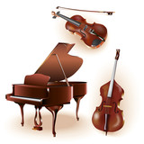 Set of 3 instruments: grand piano, violin, contrabass