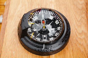 yacht compass, close-up