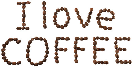 Words from coffee beans isolated