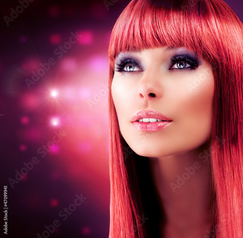Red Haired Model Portrait. Beautiful Girl with Long Healthy Hair