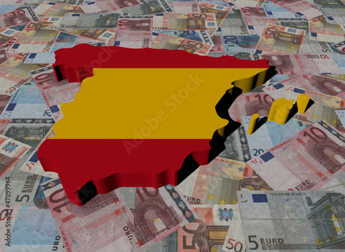 Spain Map flag on Euros illustration
