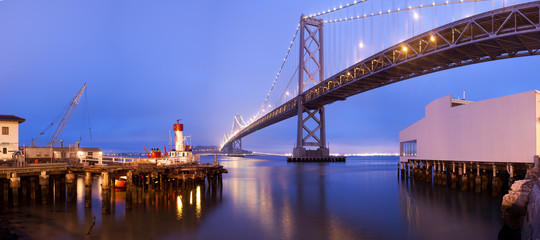 Bay Bridge Panorama at night , San Francisco