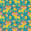 Cute colorful seamless background with cats and birds
