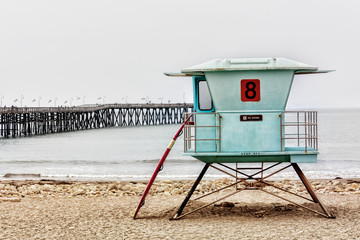 Lifeguard Stand and Surfboard at Ventura Pier