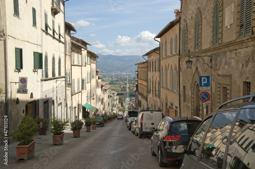 Long road through an Italian village