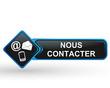nous contacter sur bouton web carré design bleu