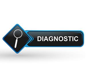 diagnostic sur bouton web carré design bleu