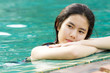 relax girl, Asian girl relaxing in swimming pool