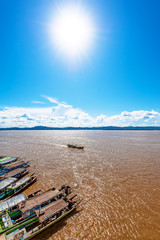 Sun over the river on beautiful summer day in Bagan, Myanmar.