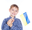A little boy with ukrainian flag on the white background