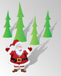 vector santa claus and trees