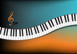 Teal and Orange Background Curved Piano Keyboard