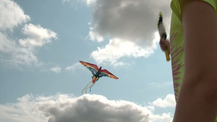 Girl Flying Kite in Sun