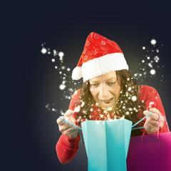 Überraschte Weihnachtsfrau, Stars