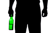 Silhouette of man drinking alcohol poster