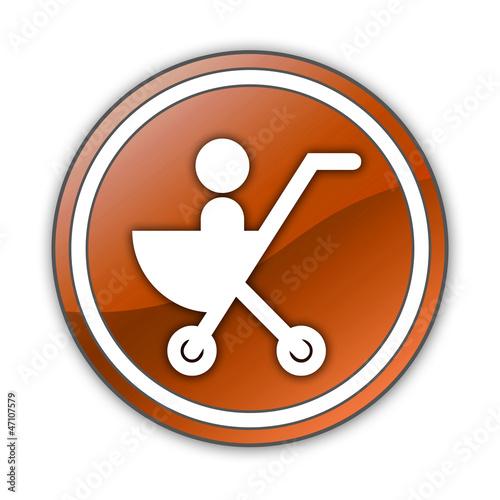 "Orange Glossy Button ""Stroller / Baby Transport"""