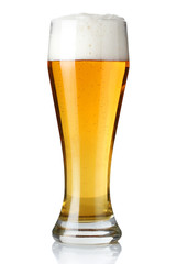 Glass of light beer isolated on a white