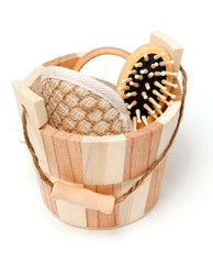sauna bucket with tools