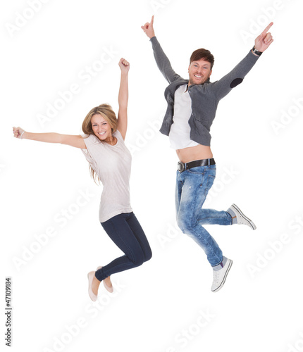 Jubilant young man and woman
