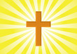 Christian Symbol - Golden cross - Halo Background