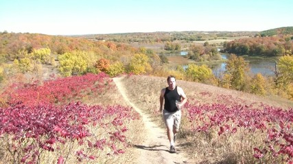 Jogging Uphill in Fall Colors
