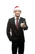 young smiling businessman in santa hat