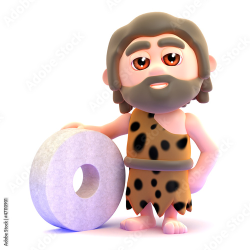 Caveman with primitive stone wheel