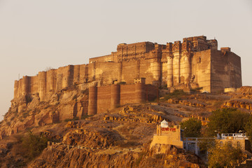 Mehrangarh Fort in Jodhpur, Rajasthan at sunrise.