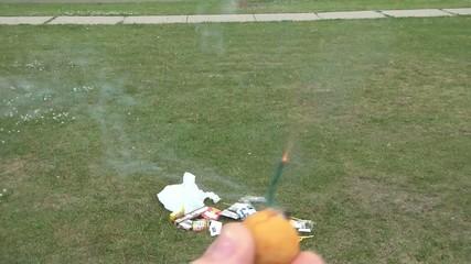 Lighting Smoke Bomb on Holiday