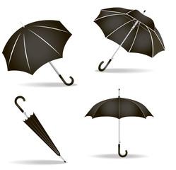 Black umbrellas set