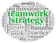 Teamword strategy concept in word tag cloud