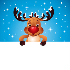 Happy Reindeer holding blank paper for your text