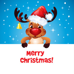 Happy Reindeer with Santa's hat paper for your text