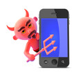 Devil plays with a smartphone