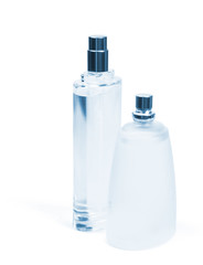 glass bottles of perfume on a white background