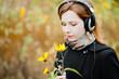 romantic woman with headphones