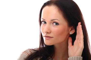 Beautiful young woman listening gesture