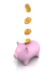 piggy money bank with coins on white background