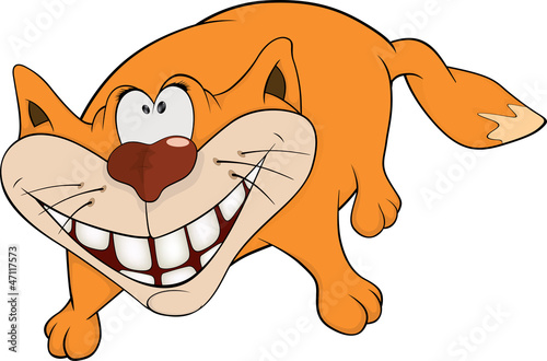Cat and a smile. Cartoon