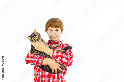 Poster boy with his cat in the arm