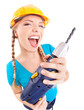 Energetic woman with drill